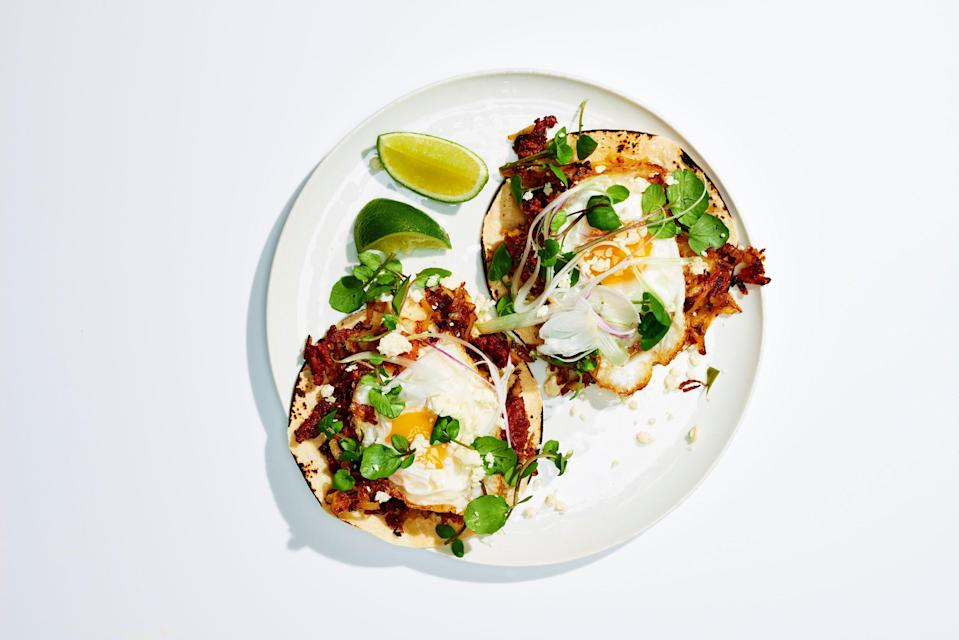 """<a href=""""https://www.bonappetit.com/recipe/breakfast-tacos-with-potato-hash-and-fried-eggs?mbid=synd_yahoo_rss"""" rel=""""nofollow noopener"""" target=""""_blank"""" data-ylk=""""slk:See recipe."""" class=""""link rapid-noclick-resp"""">See recipe.</a>"""