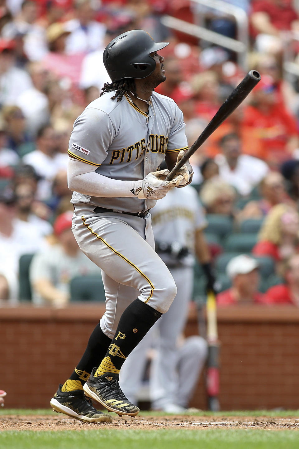Pittsburgh Pirates' Josh Bell follows through after hitting a two-run home run during the fifth inning against the St. Louis Cardinals, Sunday, Aug. 11, 2019, in St. Louis. (AP Photo/Scott Kane)
