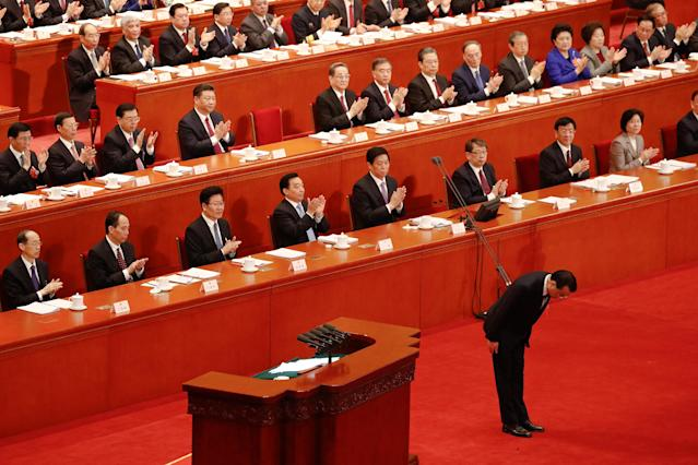 <p>Chinese Premier Li Keqiang bows after delivering his speech during the opening session of the National People's Congress (NPC) at the Great Hall of the People in Beijing on March 5, 2018. (Photo: Damir Sagolj/Reuters) </p>
