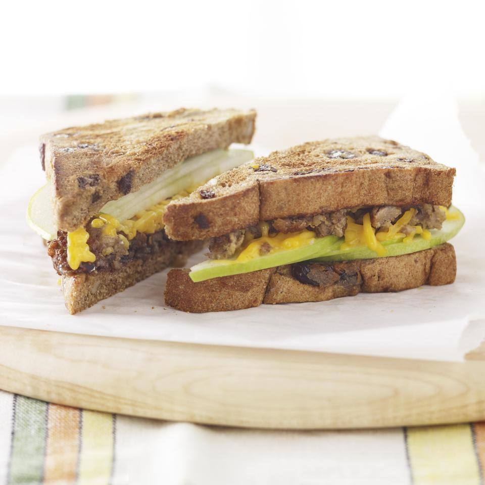 <p>This healthy vegetarian breakfast-sandwich recipe comes together in 5 minutes, but has plenty of protein from a vegetarian sausage patty and fiber from the whole-wheat bread and apple to keep you satisfied all morning long.</p>