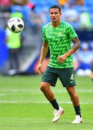 Soccer Football - World Cup - Group C - Denmark vs Australia - Samara Arena, Samara, Russia - June 21, 2018 Australia's Tim Cahill during the warm up before the match REUTERS/Dylan Martinez