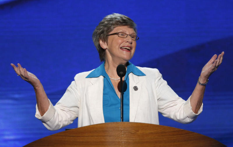 Sister Simone Campbell, the leader of the Nuns on the Bus, spoke at the 2012 Democratic National Convention.  (Jason Reed / Reuters)