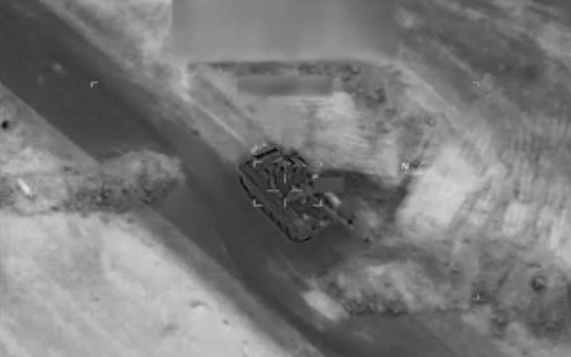 A Russian-made tank seconds before it was destroyed by a US drone near Deir Ezzor, three days after Russian fighters were killed there - CNN