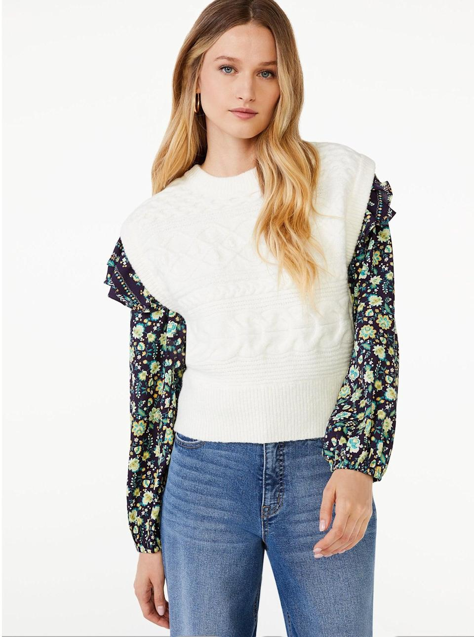 <p>Layer this <span>Scoop Women's Cable Knit Sweater Vest</span> ($26) over your favorite long-sleeved top to look put-together and on-trend in no time.</p>