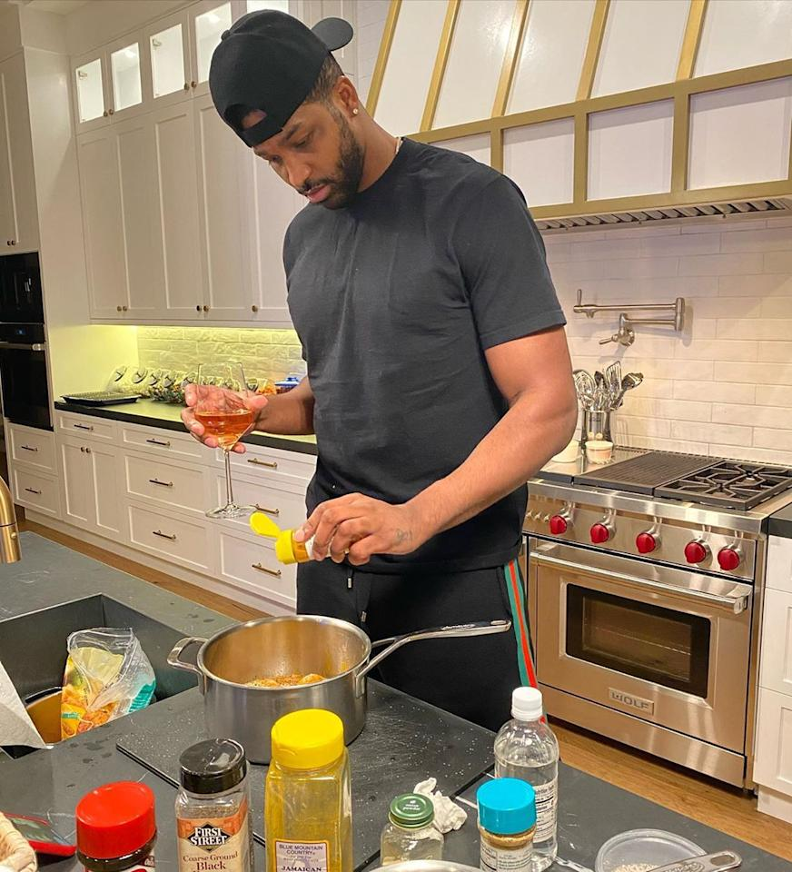 """<p>""""Quarantine day ♾: came out of cooking retirement,"""" joked the <a href=""""https://people.com/tag/tristan-thompson/"""">29-year-old basketball player</a> while cooking at home and <a href=""""https://www.instagram.com/p/B-D_QnQFYNf/"""">sipping on a glass of rosé</a>.</p>"""