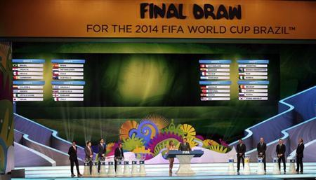 The groups for the 2014 World Cup finals are shown on the screen after the draw was made at the Costa do Sauipe resort in Sao Joao da Mata, Bahia state, December 6, 2013.