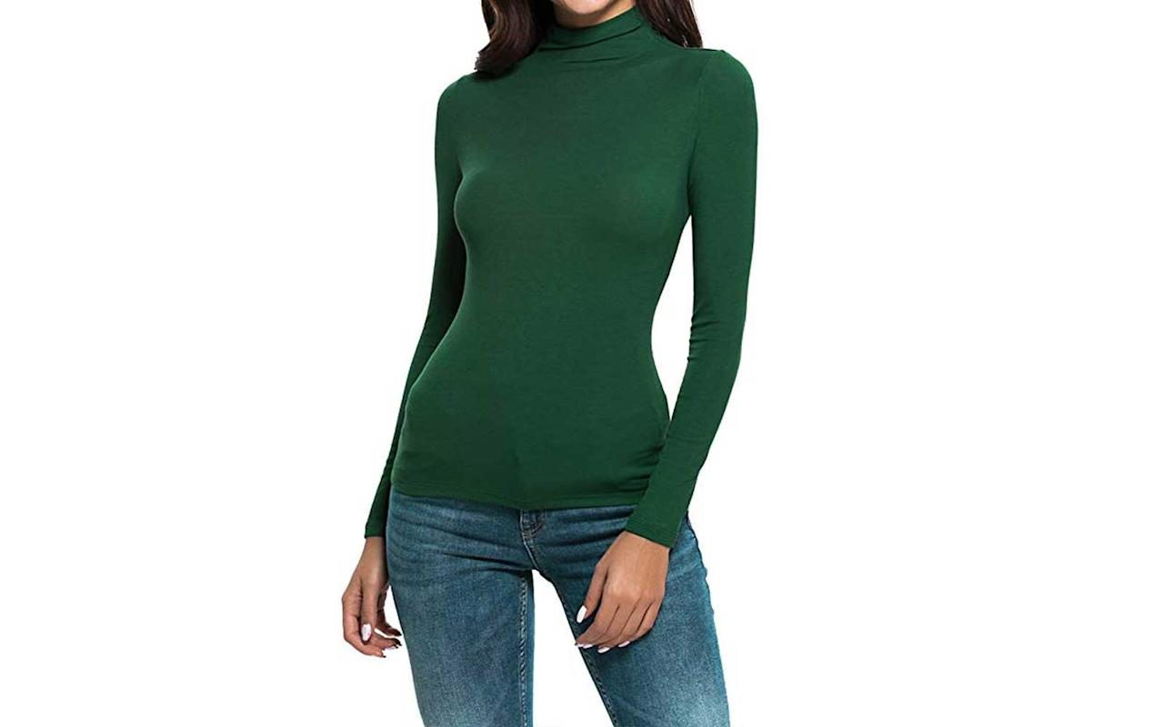 """<p>This Amazon best-seller has women raving about it. From the soft fabric (which reviewers say doesn't shrink even after you put it in the dryer) to the flattering fit and length, you can wear this top under blazers or cardigans as an extra layer. It comes in so many color options that we're definitely ordering at least two.</p> <p><strong>To buy</strong>: <a href=""""https://www.amazon.com/gp/product/B07DFMFT6X/ref=as_li_tl?ie=UTF8&tag=tlturtlenecksdec19-20&camp=1789&creative=9325&linkCode=as2&creativeASIN=B07DFMFT6X&linkId=eeed9c0171472d8ee3d4d80d17b33b46"""">amazon.com</a>, from $19</p>"""