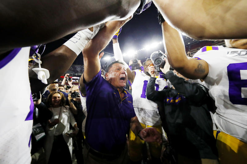 TUSCALOOSA, ALABAMA - NOVEMBER 09: Head coach Ed Orgeron of the LSU Tigers celebrates after defeating the Alabama Crimson Tide 46-41 at Bryant-Denny Stadium on November 09, 2019 in Tuscaloosa, Alabama. (Photo by Kevin C. Cox/Getty Images)