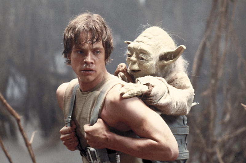 "FILE - This 1980 publicity image originally released by Lucasfilm Ltd., Mark Hamill as Luke Skywalker and the character Yoda appear in this scene from ""Star Wars Episode V: The Empire Strikes Back."" The Library of Congress announced early Tuesday Dec. 28, 2010 that the film will be preserved by the Library of Congress as part of its National Film Registry.  (AP Photo/Lucasfilm Ltd)"