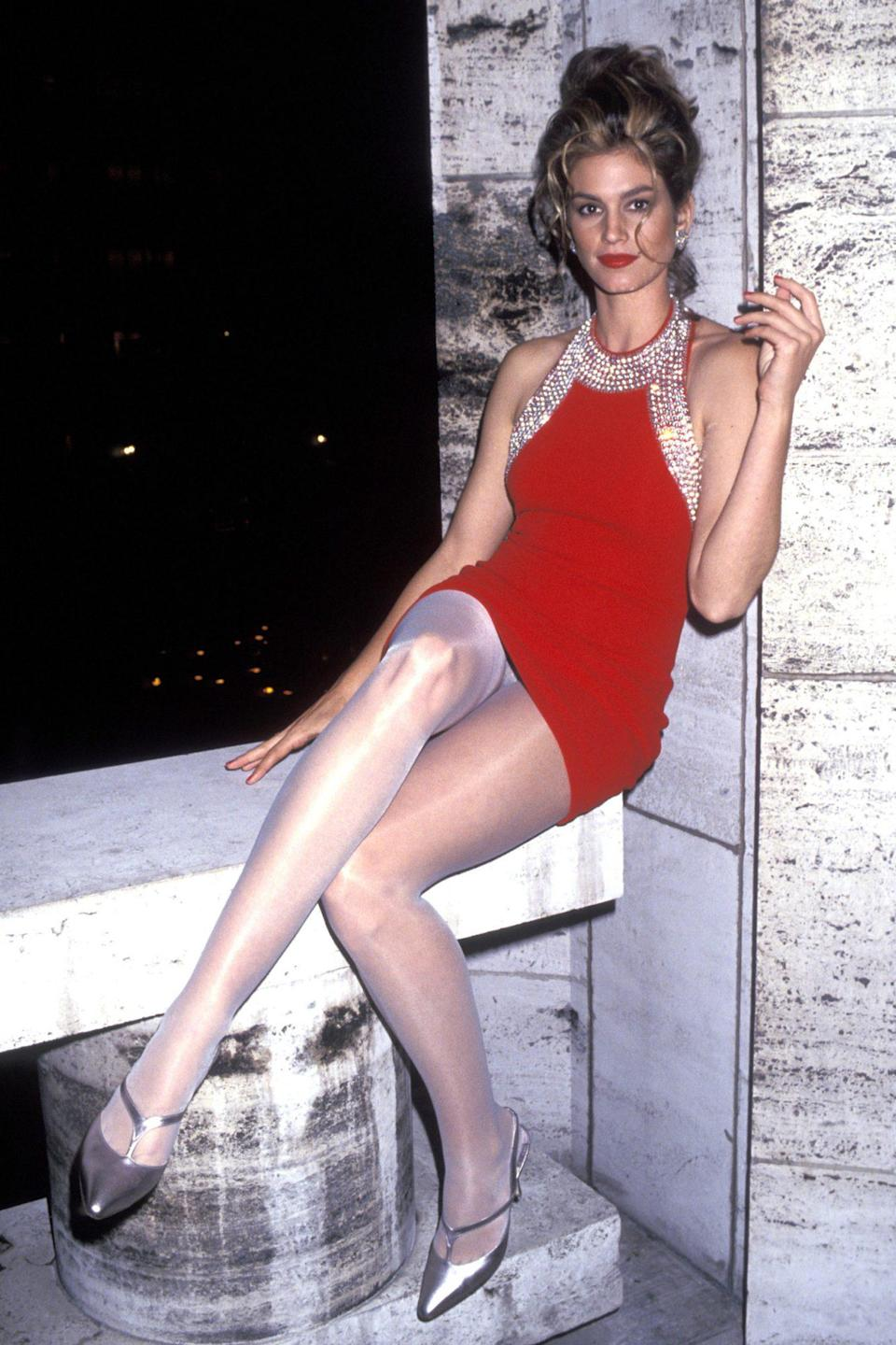 <p>Ravishing in red during the Revlon Unforgettable Women event in 1991 at N.Y.C.'s Lincoln Center.</p>