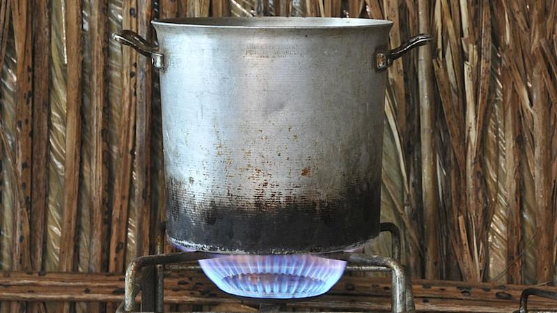 Large pot on cooking stove