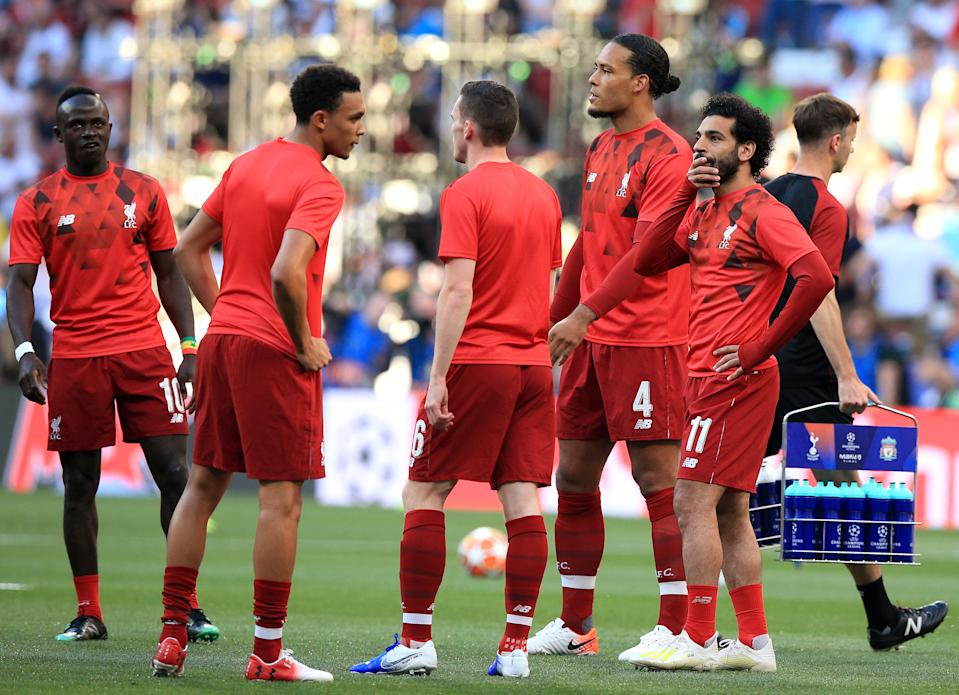 Left to right, Liverpool's Sadio Mane, Trent Alexander-Arnold, Andrew Robertson, Virgil van Dijk and Mohamed Salah warming up before the UEFA Champions League Final at the Wanda Metropolitano, Madrid. (Photo by Peter Byrne/PA Images via Getty Images)