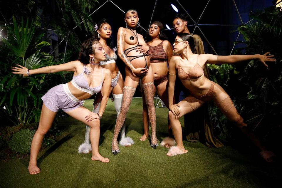 Slick Woods, center, and models pose at the Savage X Fenty Fall/Winter 2018 fashion show during New York Fashion Week at the Brooklyn Navy Yard on Sept. 12, 2018. (Photo: Getty Images)