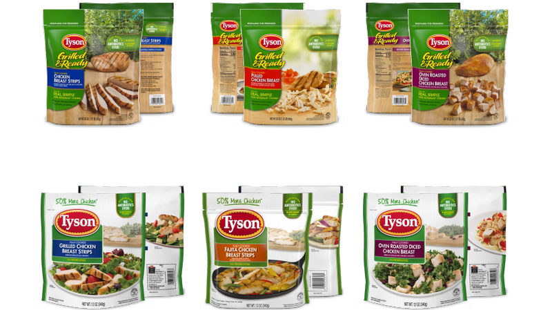 Six of the 30 products Tyson has recalled for potential listeria contamination
