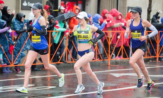 """<span class=""""element-image__caption"""">Sarah Sellers, right, approaches the 24-mile marker of the Boston Marathon on Monday en route to her stunning runner-up finish.</span> <span class=""""element-image__credit"""">Photograph: Scott Eisen/Getty Images</span>"""