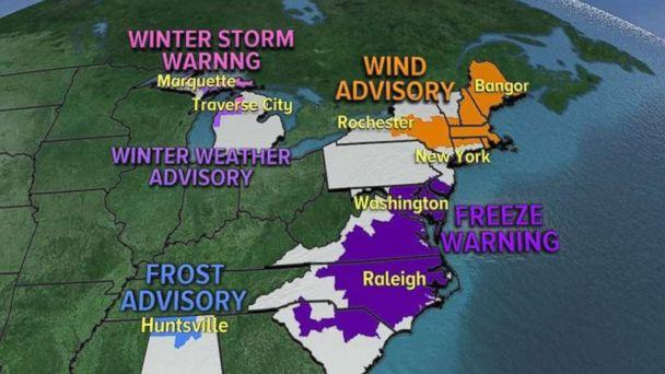 Cold weather advisories are in place for Saturday, Nov. 11, 2017. (ABC NEWS)
