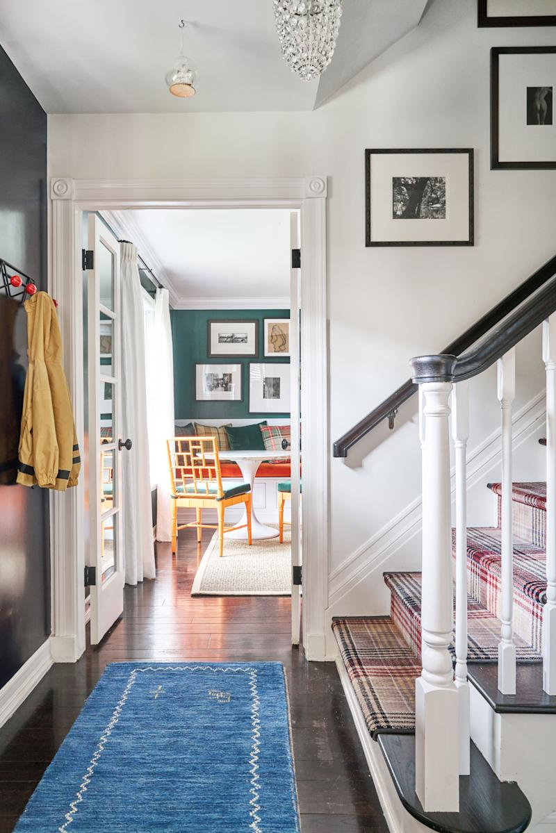 "In actress Selma Blair's L.A. home, designer Bryan Wark lacquered the tiny entryway in Benjamin Moore's Polo Blue, a color that appears throughout the house. ""I used to be like, sorry this entryway is like an old brownstone because when you open the door, you're upstairs already,"" Blair says. ""But now the whole house has a sense of humor and a really great story to tell."""