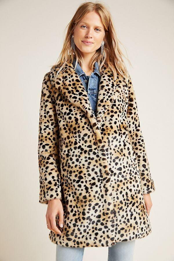 "This cheetah-print teddy coat has snap-button closures and large lapels. <strong><a href=""https://fave.co/2HXIsS7"" target=""_blank"" rel=""noopener noreferrer"">Find it for $248 at Anthropologie</a></strong>."