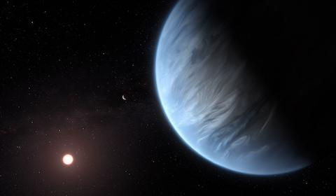 This artist's impression shows the planet K2-18b, its host star and an accompanying planet in this system. K2-18b is now the only super-Earth exoplanet known to host both water and temperatures that could support life.  - Credit: M. Kornmesse/ ESA/Hubble