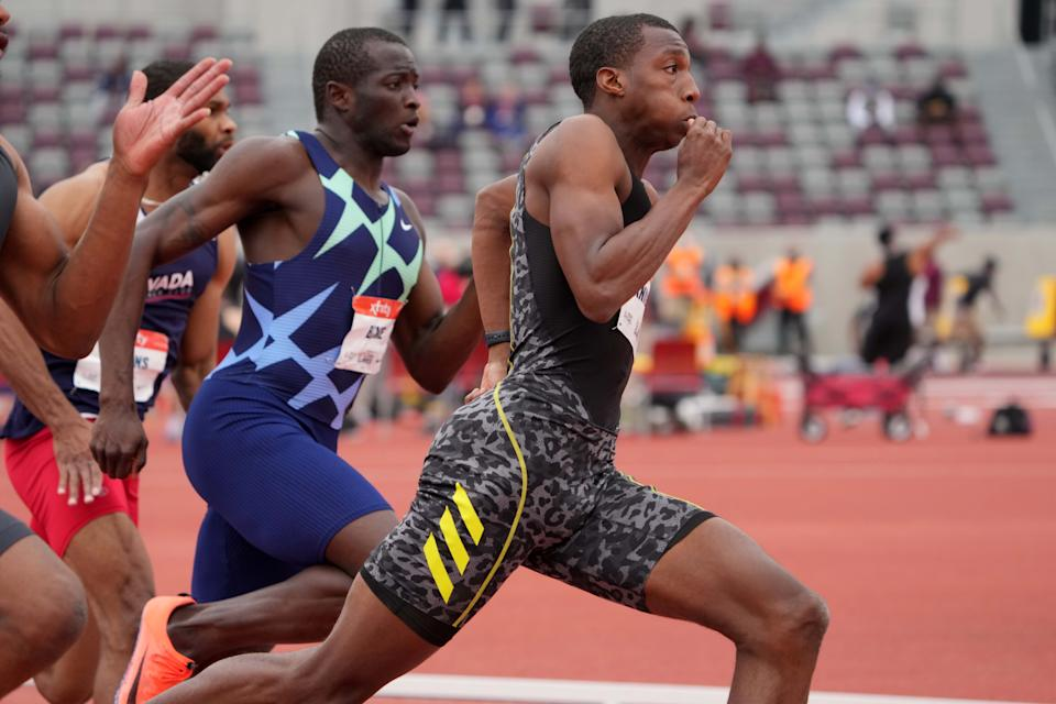 May 9, 2021; Walnut, CA, USA;  Erriyon  Knighton  (USA) wins 200m haet in 20.30 during the USATF Golden Games at Hilmer Lodge Stadium. Mandatory Credit: Kirby Lee-USA TODAY Sports