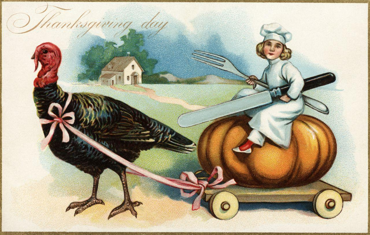 <p>ca. 1907 — Thanksgiving Day Postcard with a Chef and Turkey — Image by © Cynthia Hart Designer/Corbis </p>