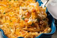 """<p>Covered in crispy fried onions, this turkey and mashed potato bake has a homey feel and creamy taste. Even before preparing this bake, set yourself on the right foot by following one of <a href=""""https://www.thedailymeal.com/cook/50-great-ways-cook-potatoes-0?referrer=yahoo&category=beauty_food&include_utm=1&utm_medium=referral&utm_source=yahoo&utm_campaign=feed"""" rel=""""nofollow noopener"""" target=""""_blank"""" data-ylk=""""slk:our best mashed potato recipes"""" class=""""link rapid-noclick-resp"""">our best mashed potato recipes</a>. </p> <p><a href=""""https://www.thedailymeal.com/best-recipes/heaty-turkey-and-mashed-potato-bake?referrer=yahoo&category=beauty_food&include_utm=1&utm_medium=referral&utm_source=yahoo&utm_campaign=feed"""" rel=""""nofollow noopener"""" target=""""_blank"""" data-ylk=""""slk:For the Hearty Turkey & Mashed Potato Bake recipe, click here"""" class=""""link rapid-noclick-resp"""">For the Hearty Turkey & Mashed Potato Bake recipe, click here</a>.</p>"""