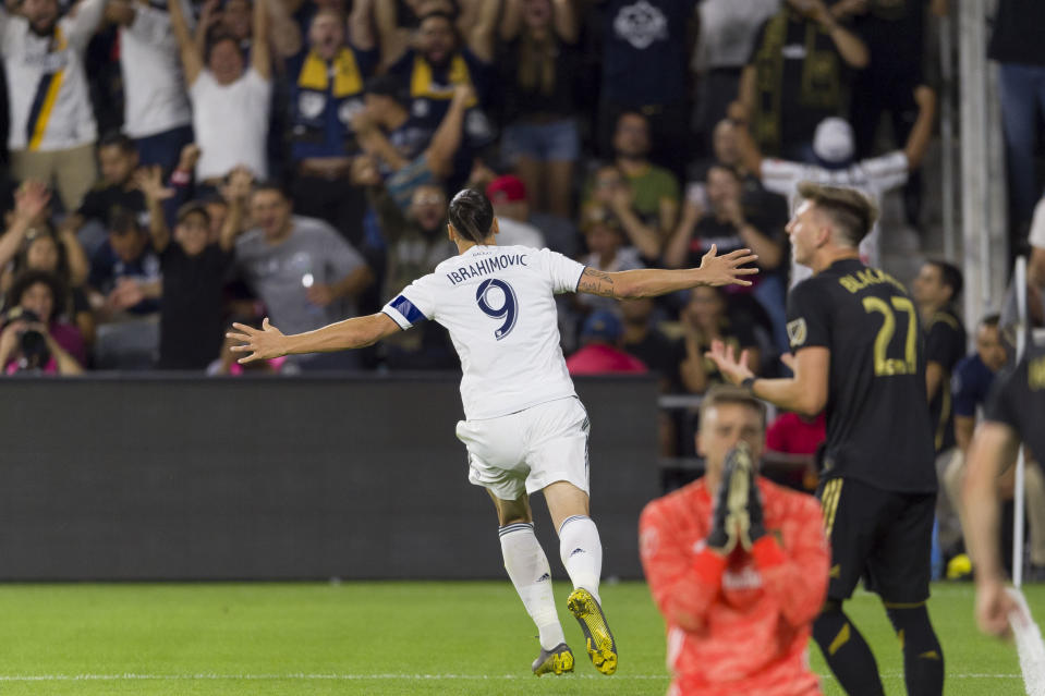 Zlatan Ibrahimovic's goal against LAFC in Thursday's Western Conference semifinal might be the last of his MLS career. (Reuters)