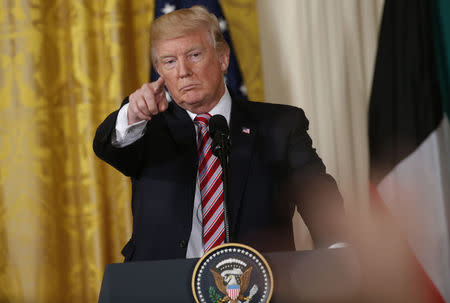 U.S. President Trump takes question during joint news conference with Kuwait's Emir Sheikh Sabah Al-Ahmad Al-Jaber Al-Sabah at the White House in Washington
