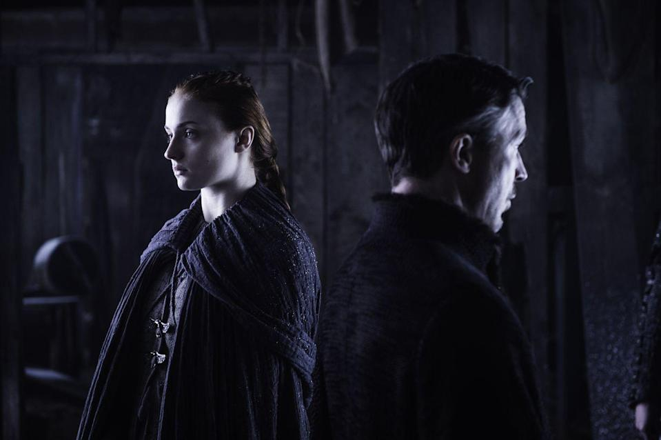 <p>In Season 5, Sansa meets with Littlefinger to hear his apology for leaving her in Ramsay's psychotic hands, and she dresses in sleek, dark clothes to match his. They're equals when it comes to playing the game. </p>