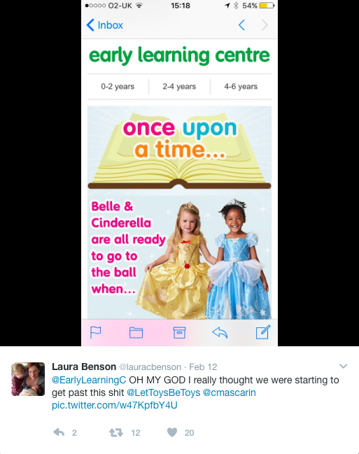 Parents have called out Early Learning Centre for promoting gender stereotyping [Photo: Twitter/@lauracbenson]