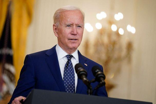 PHOTO: U.S. President Joe Biden speaks in the East Room of the White House in Washington, D.C. on April 15, 2021. (Andrew Harnik/AP, File)