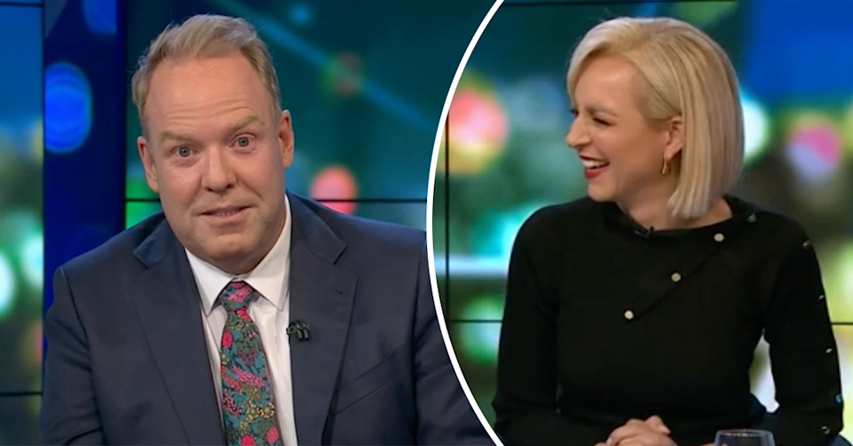 Peter Helliar and Carrie Bickmore on The Project.