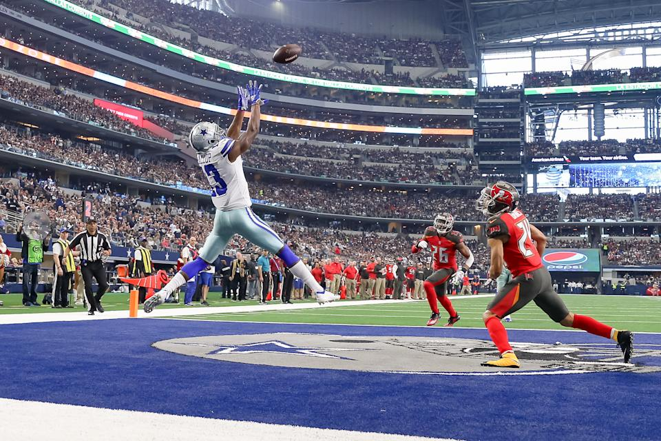 Dallas Cowboys Wide Receiver Michael Gallup (13) catches a touchdown pass