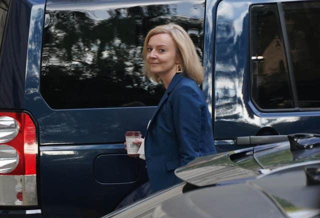 Liz Truss, the new Foreign Secretary, arriving at the Foreign Office