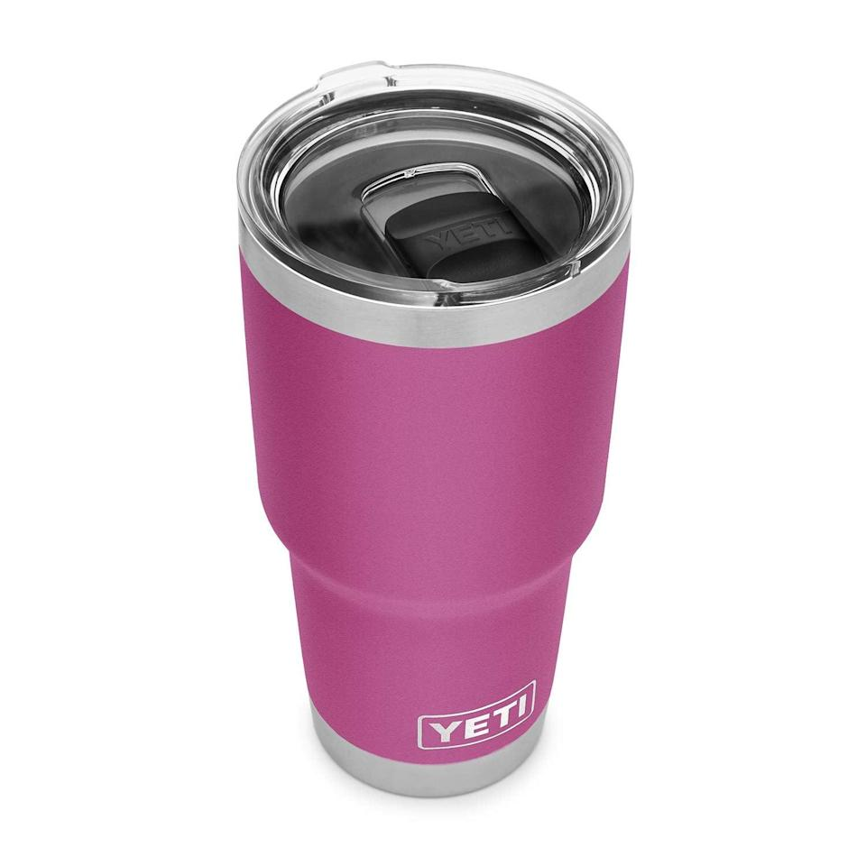 """<h2>YETI Rambler 30 oz Tumbler</h2><br>This Tumbler is not just any cup. It's insulated and will keep hot drinks hot and cold drinks cold. It's the ultimate travel mug. <br><br><strong>Rating:</strong> 4.9 out of 5 stars, and 250 reviews<br><br><strong>A Satisfied Customer Review:</strong>"""" While in the hospital they took me off caffeine, but the water was getting warm so easy. My grandson got this for me and it has been with water and ice for 24 hours, the water is still delicious, the ice has melted a wee bit but there is still ice. Best [cup] ever for someone who likes their things icy cold.""""<br><br><strong>YETI</strong> YETI Rambler 30 oz Tumbler, $, available at <a href=""""https://amzn.to/33bx9zL"""" rel=""""nofollow noopener"""" target=""""_blank"""" data-ylk=""""slk:Amazon"""" class=""""link rapid-noclick-resp"""">Amazon</a>"""