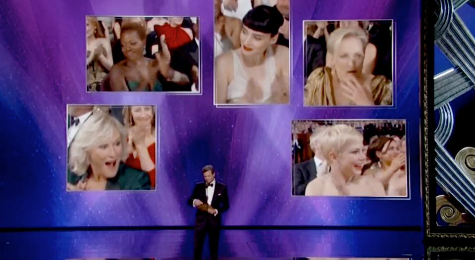 Colin Firth delivers the bad news to Glenn Close (Oscars)
