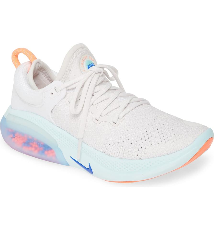 """<p>The <a href=""""https://www.popsugar.com/buy/Nike-Joyride-Run-Flyknit-Running-Shoe-496889?p_name=Nike%20Joyride%20Run%20Flyknit%20Running%20Shoe&retailer=shop.nordstrom.com&pid=496889&price=180&evar1=fit%3Aus&evar9=46705105&evar98=https%3A%2F%2Fwww.popsugar.com%2Ffitness%2Fphoto-gallery%2F46705105%2Fimage%2F46705460%2FNike-Joyride-Run-Flyknit-Running-Shoe&list1=running%20shoes%2Cgift%20guide%2Cfitness%20gear&prop13=api&pdata=1"""" rel=""""nofollow"""" data-shoppable-link=""""1"""" target=""""_blank"""" class=""""ga-track"""" data-ga-category=""""Related"""" data-ga-label=""""https://shop.nordstrom.com/s/nike-joyride-run-flyknit-running-shoe-women/5178403?origin=category-personalizedsort&amp;breadcrumb=Home%2FWomen%2FShoes%2FRunning&amp;color=sunset%2F%20orange%2F%20pink%20quartz"""" data-ga-action=""""In-Line Links"""">Nike Joyride Run Flyknit Running Shoe</a> ($180) takes comfort to the next level with """"adaptive cushioning"""" foam beads in the sole. This shoe is going to adapt and mold to your foot for ultimate comfort. </p>"""
