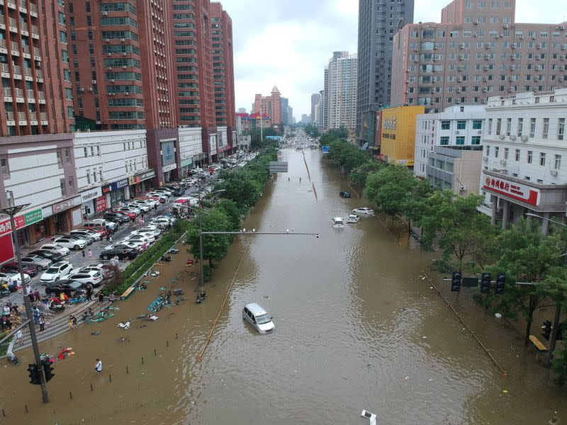 Aerial view shows a flooded road section following heavy rainfall in Zhengzhou