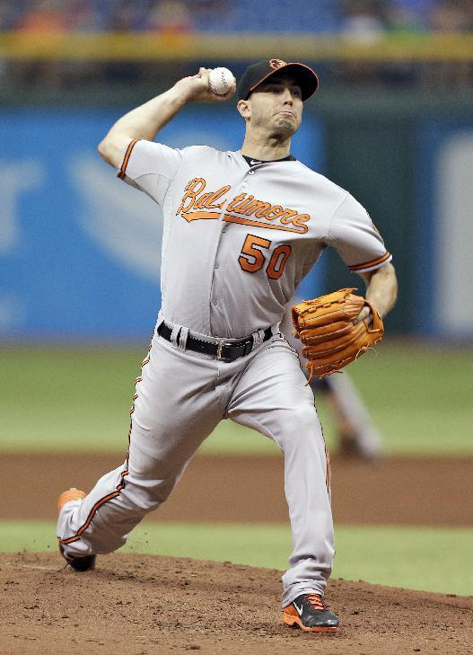Baltimore Orioles starting pitcher Miguel Gonzalez delivers to Tampa Bay Rays' David DeJesus during the first inning of a baseball game Saturday, Sept. 21, 2013, in St. Petersburg, Fla. (AP Photo/Chris O'Meara)