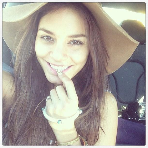 Coachella veteran Vanessa Hudgens went without makeup during her road trip to Indio, California, for the music festival.