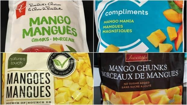 The frozen mango recall applies to products branded as President's Choice, Compliments, Nature's Touch and Irresistibles. (Canadian Food Inspection Agency - image credit)