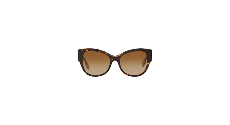 Burberry Check Detail Polarized Gradient Cat Eye Sunglasses