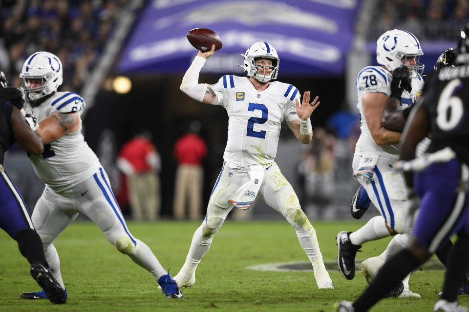 Indianapolis Colts quarterback Carson Wentz (2) throws the ball during the second half of an NFL football game against the Baltimore Ravens, Monday, Oct. 11, 2021, in Baltimore. (AP Photo/Nick Wass)