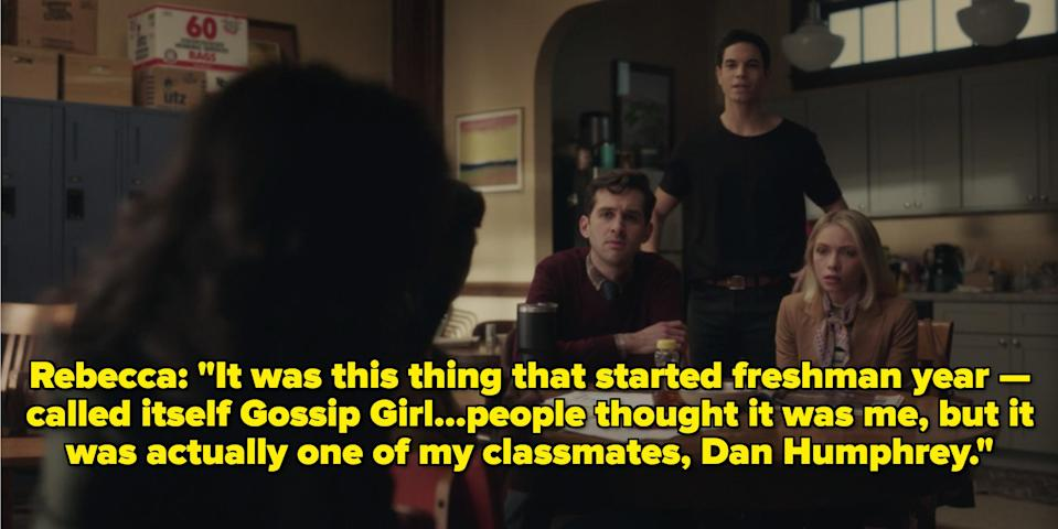 Rebecca talking to her colleagues about Gossip Girl