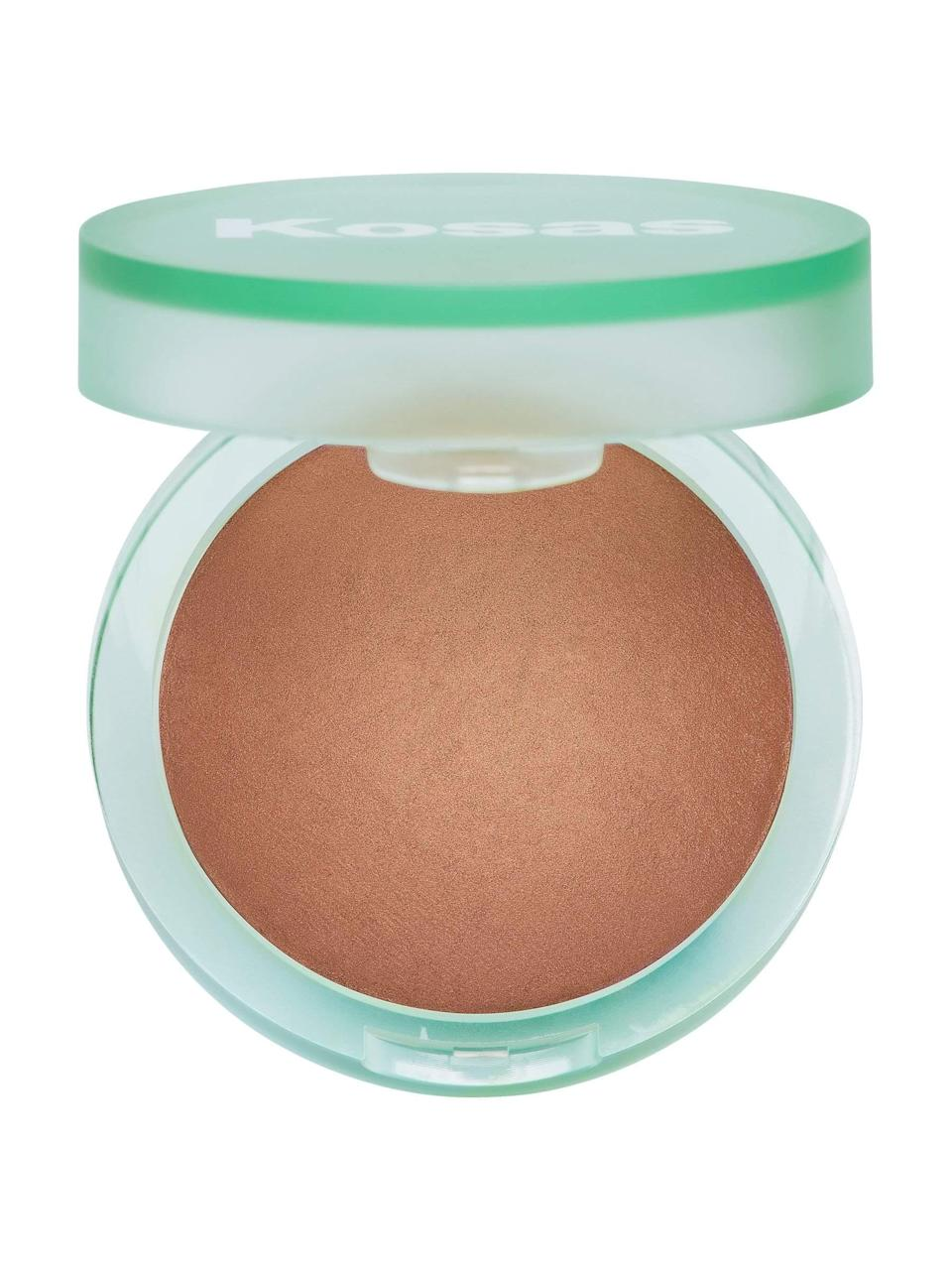 """<h3>Kosas The Sun Show Bronzer</h3> <br>""""Hey, it's still summer, even if I'm spending most of my days indoors. I own quite a few bronzers, but Kosas's baked formula has been on repeat lately — and it's a safe alternative to soaking up UV rays, might I add. The medium shade has the most gorgeous terra-cotta undertones that complement my olive skin, so I usually wear it in place of blush on the apples of my cheeks and lightly dust it across my nose and forehead. It's admittedly a bit pricey at $34, but the pan is deceptively generous and a tiny amount goes a long way — it's <em>that</em> pigmented."""" — Karina Hoshikawa, beauty & wellness market writer<br><br><strong>Kosas</strong> The Sun Show Bronzer - Medium, $, available at <a href=""""https://go.skimresources.com/?id=30283X879131&url=https%3A%2F%2Fkosas.com%2Fproducts%2Fthe-sun-show-bronzer-medium"""" rel=""""nofollow noopener"""" target=""""_blank"""" data-ylk=""""slk:Kosas"""" class=""""link rapid-noclick-resp"""">Kosas</a><br>"""