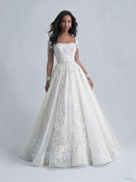 Model is wearing a Disney Fairytale Weddings Platinum Collection by Allure Bridals. (Allure Bridals/Disney)