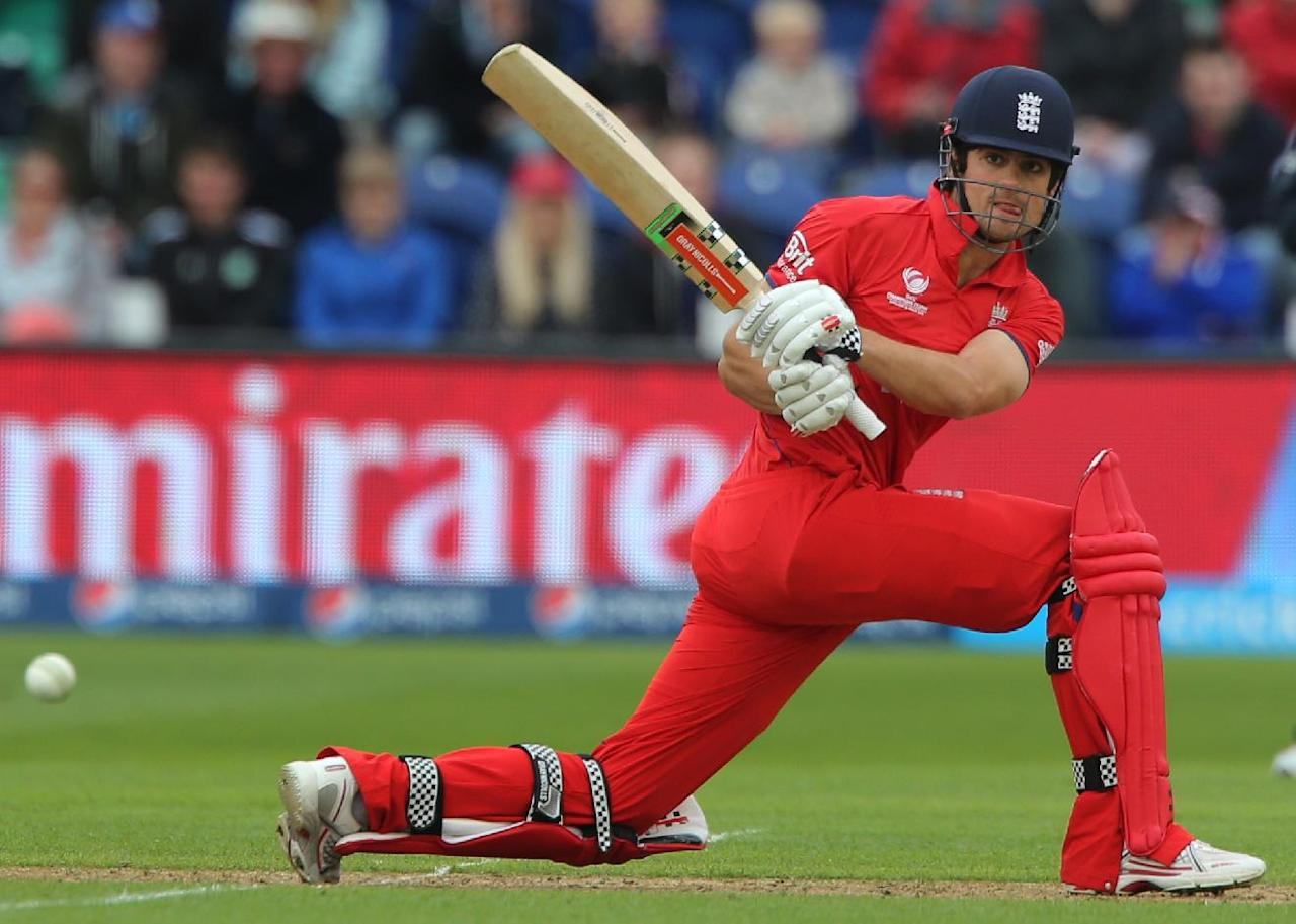 England captain Alastair Cook sweeps against New Zealand during the ICC Champions Trophy match at the SWALEC Stadium, Cardiff.