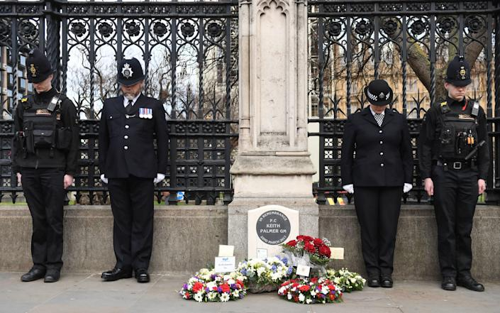 Police Officers at the 2018 unveiling of the memorial to PC Palmer at the Carriage Gates in Westminster - Stefan Rousseau /PA
