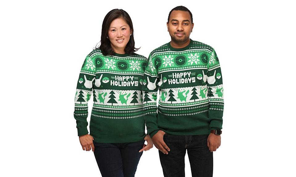 """<p>Again, sometimes the ugly Christmas sweater isn't ugly at all, thanks to cool green and white Pikachus and Poké Balls. <strong><a rel=""""nofollow noopener"""" href=""""http://www.thinkgeek.com/product/jmkv/"""" target=""""_blank"""" data-ylk=""""slk:Buy here"""" class=""""link rapid-noclick-resp"""">Buy here</a></strong> </p>"""