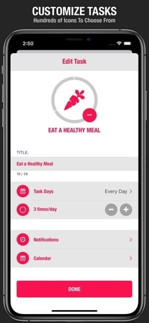 Screenshot of Streaks app saying 'Customize Tasks' and showing options for task customization for eating a healthy meal